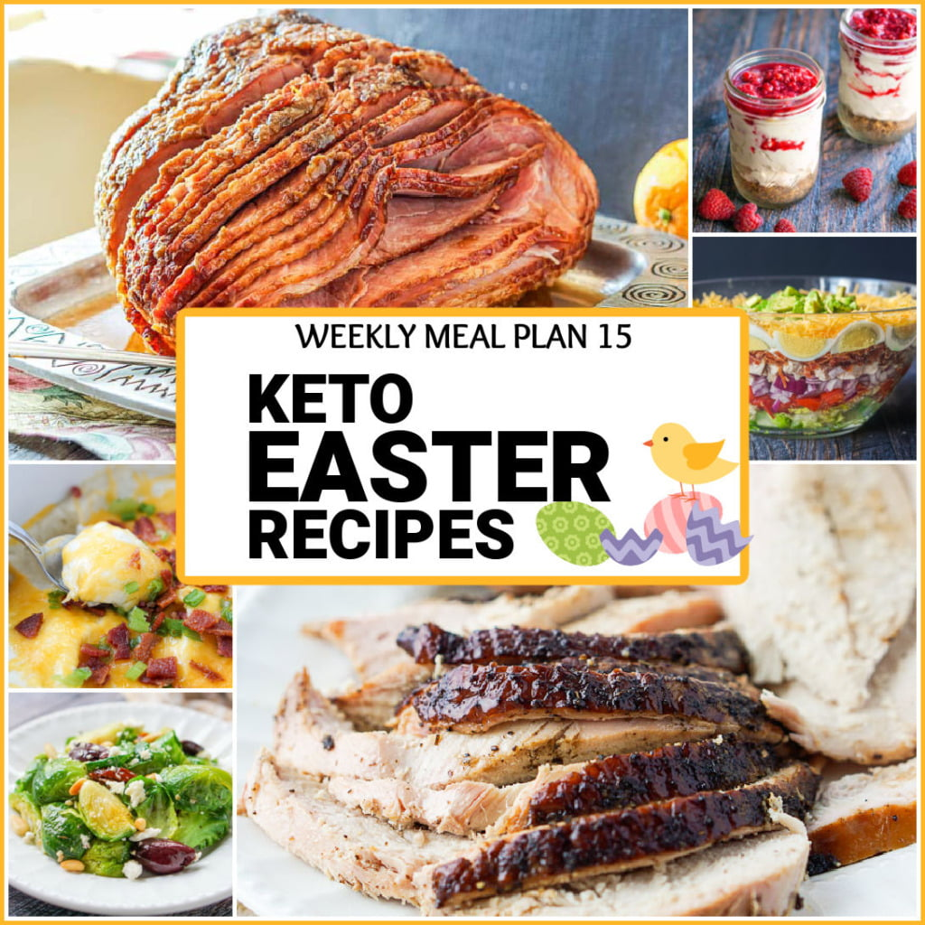 collage of keto Easter recipe pictures and text overlay