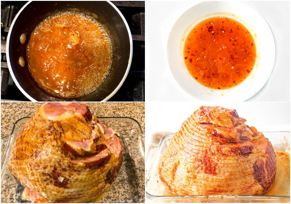 collage of photos showing the steps of making the glaze and glazing the ham