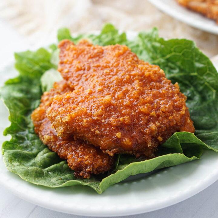 Air Fryer Crispy Buffalo Chicken Sandwich (keto, gluten free)