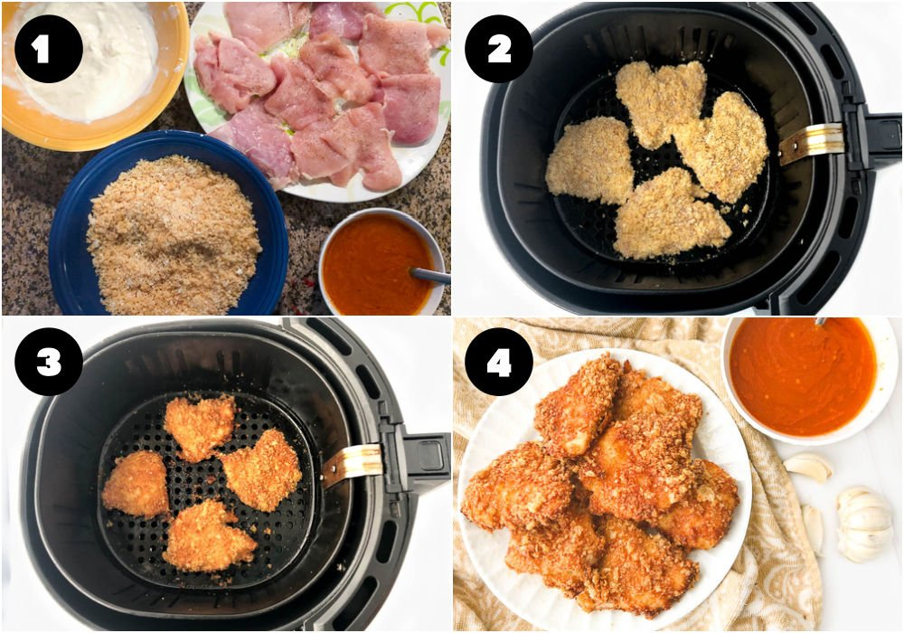 collage of pictures showing how to air fry crispy chicken patties