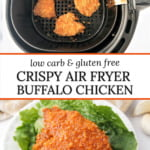 white plate with crispy air fryer buffalo chicken and text overlay