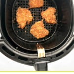 crispy air fryer buffalo chicken in air fryer basket and text overlay