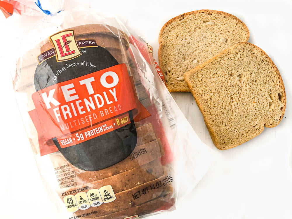 Aldi keto friendly multisided bread loaf and slices