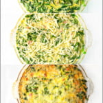 phots of making a crustless keto quiche with text overlay