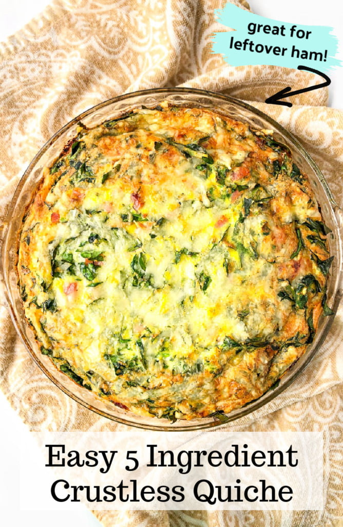 a crustless spinach and ham crustless keto quiche with text