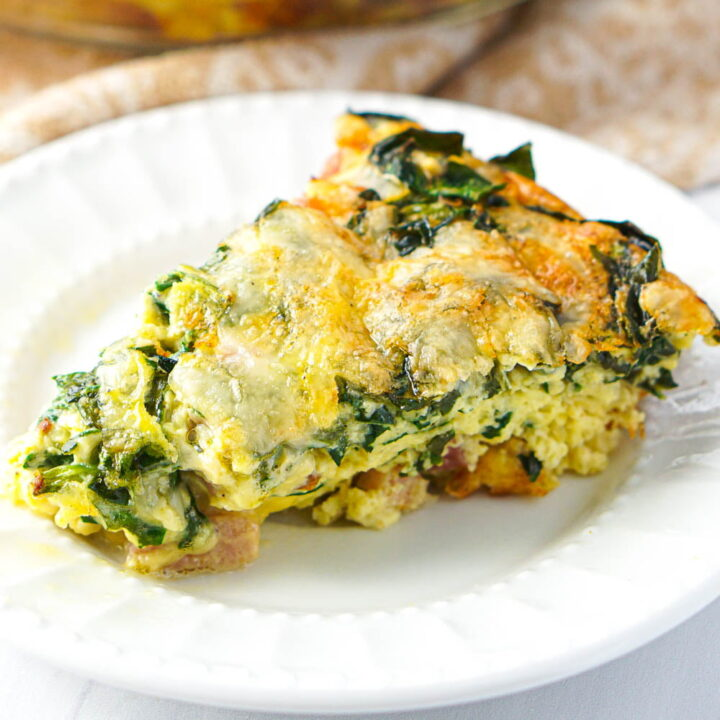 Crustless Keto Quiche with Ham & Spinach