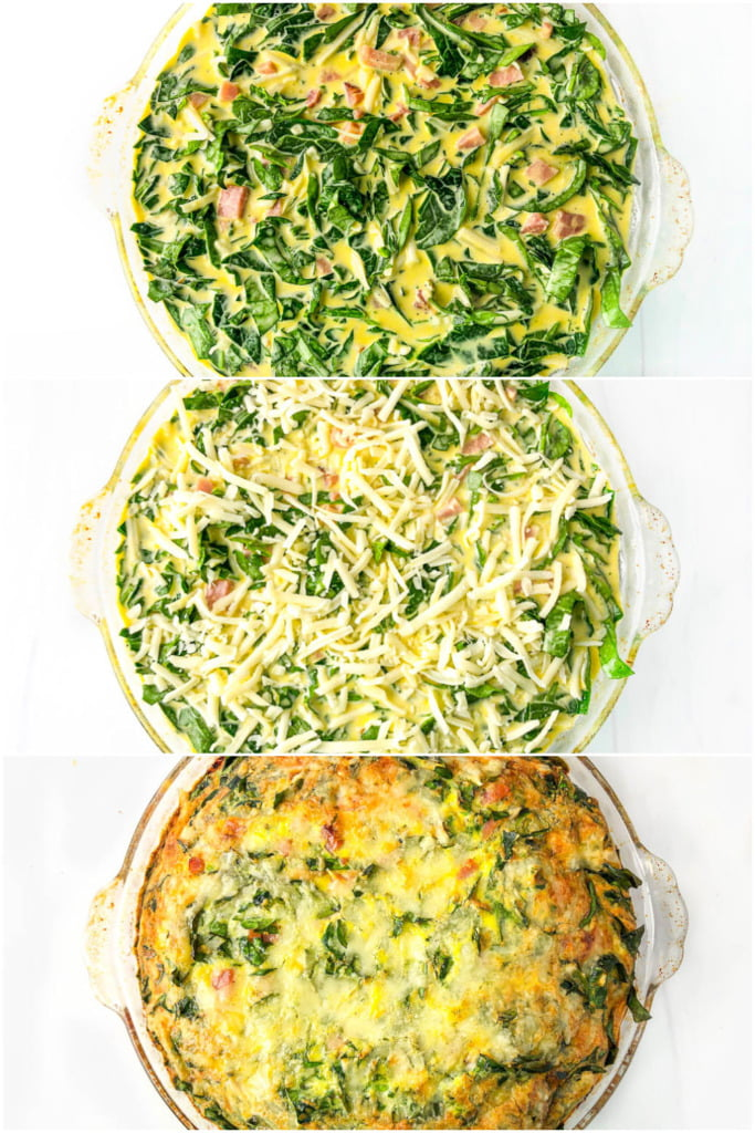 picture collage with the the stages of making this low carb quiche