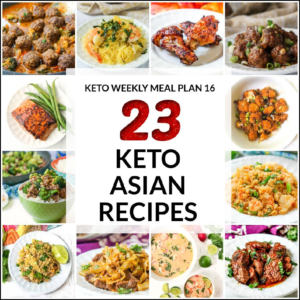 collage of keto Asian recipes with text overlay