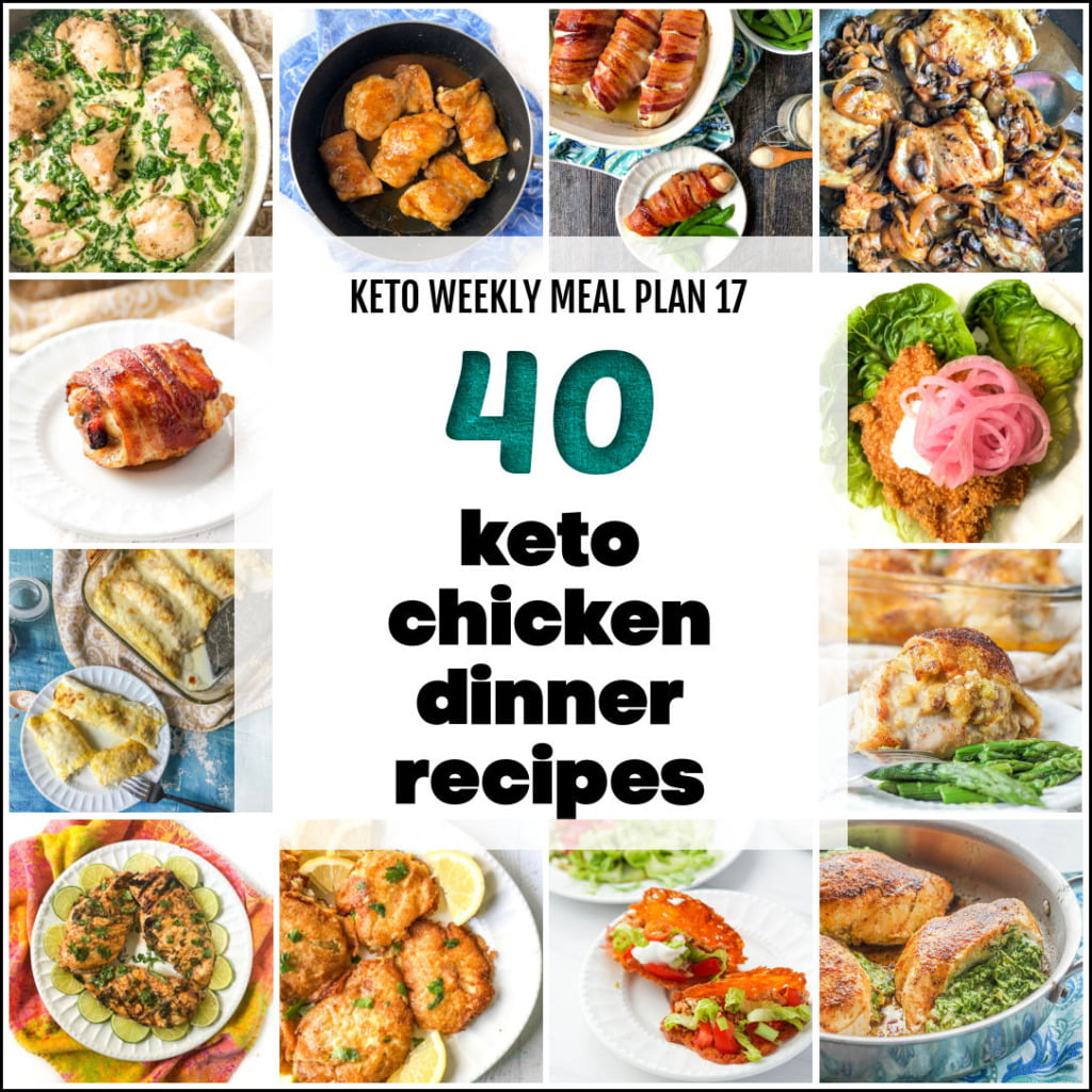 collage of keto chicken dinner recipes with text overlay