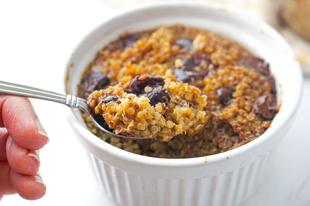 a spoonful of baked quinoa hot cereal