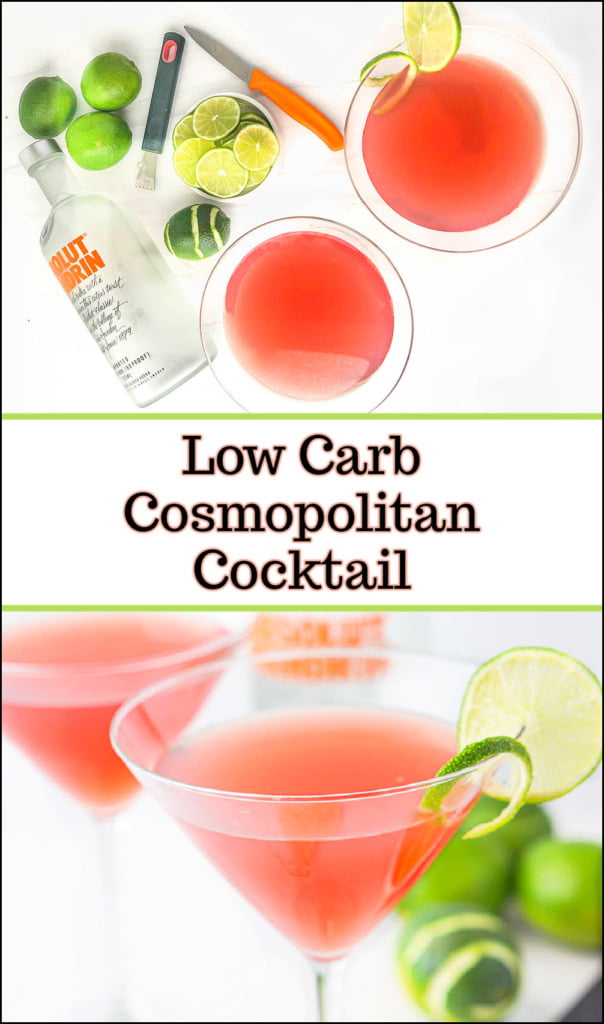 two martini glasses with keto cosmopolitan drink and limes