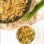 pan with keto egg roll in a bowl and text