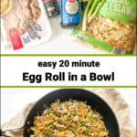 ingredients and pan with keto egg roll in a bowl and text