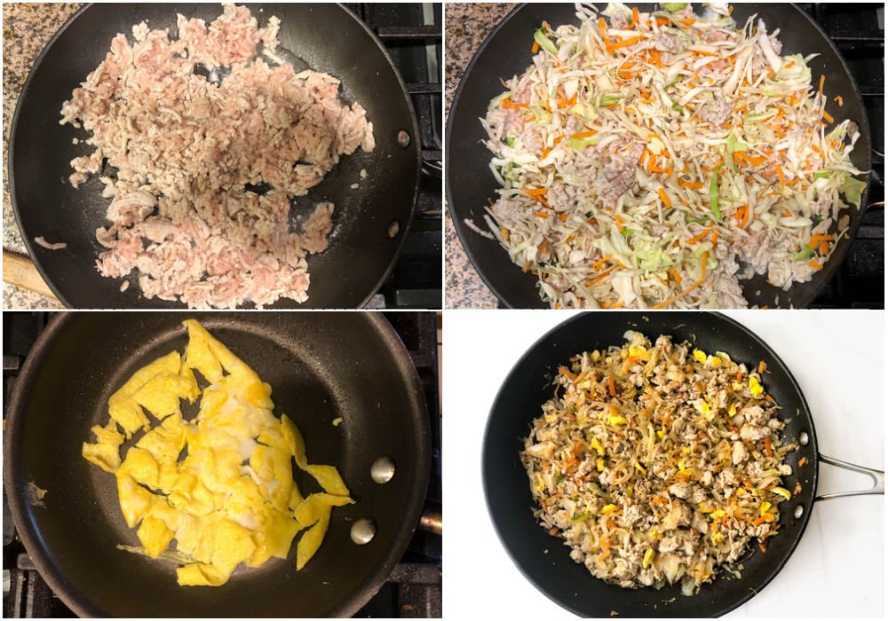 collage of steps to make keto egg roll in a bowl