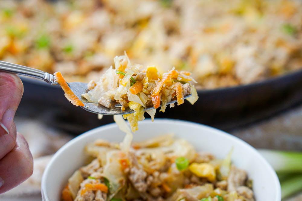 forkful of egg roll bowl stir fry