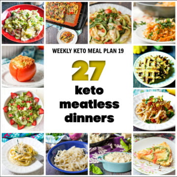 collage of keto meatless dinners with text