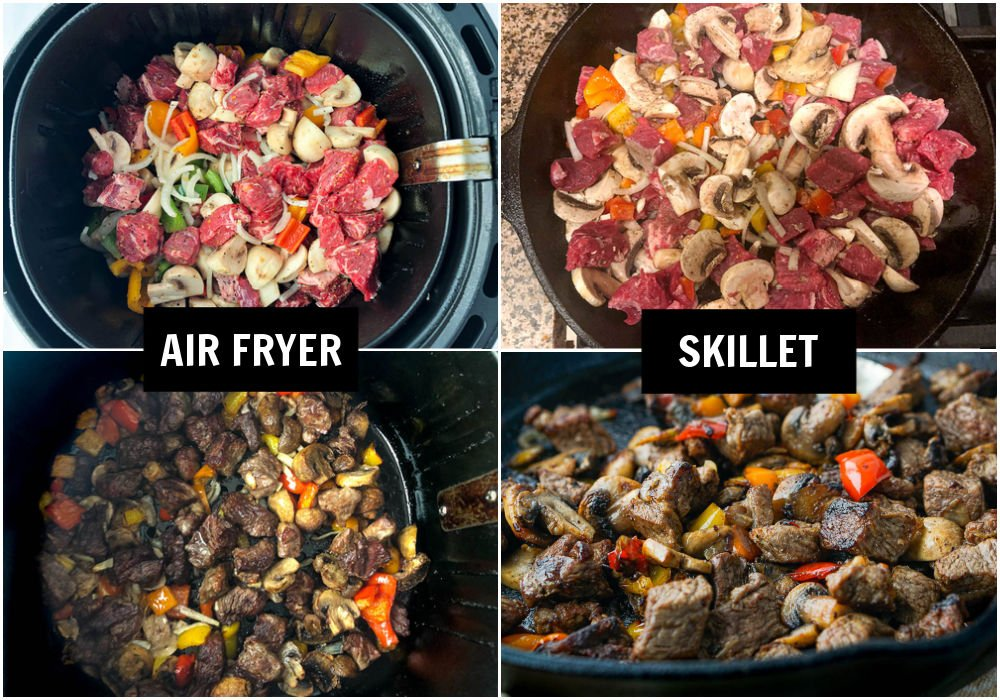 a collage of phots of how to make steak bites in both the air fryer and skillet