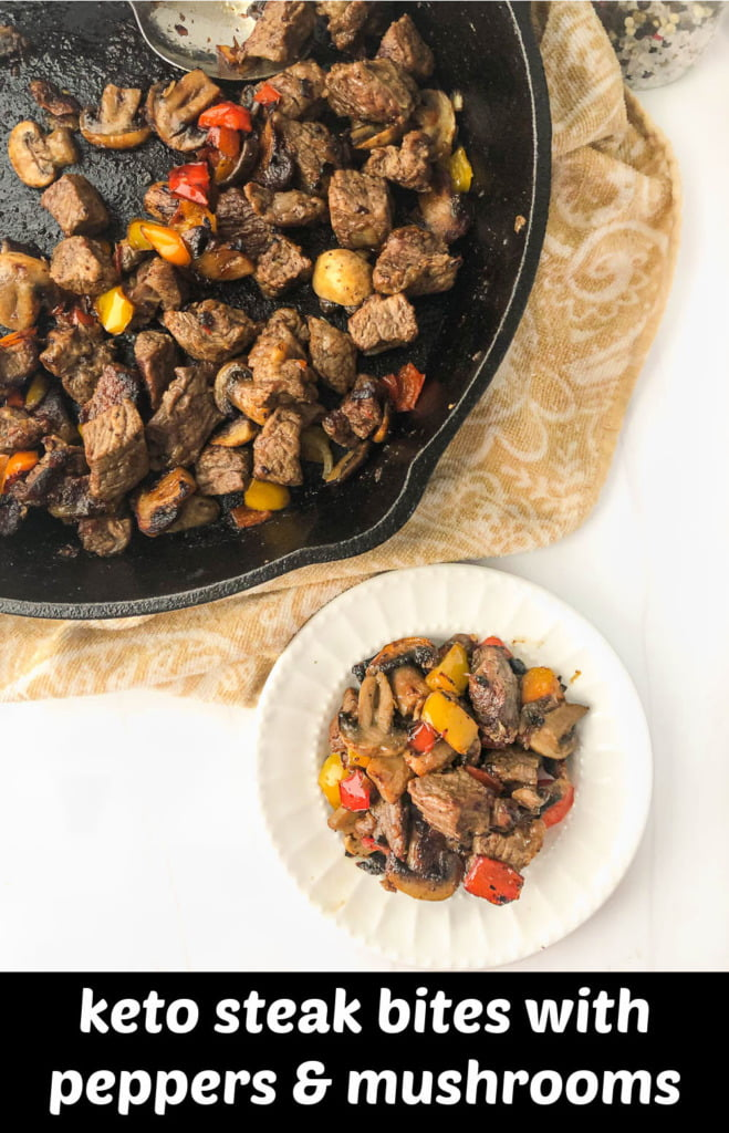 skillet and white plate with keto steak tips with peppers & mushrooms with text