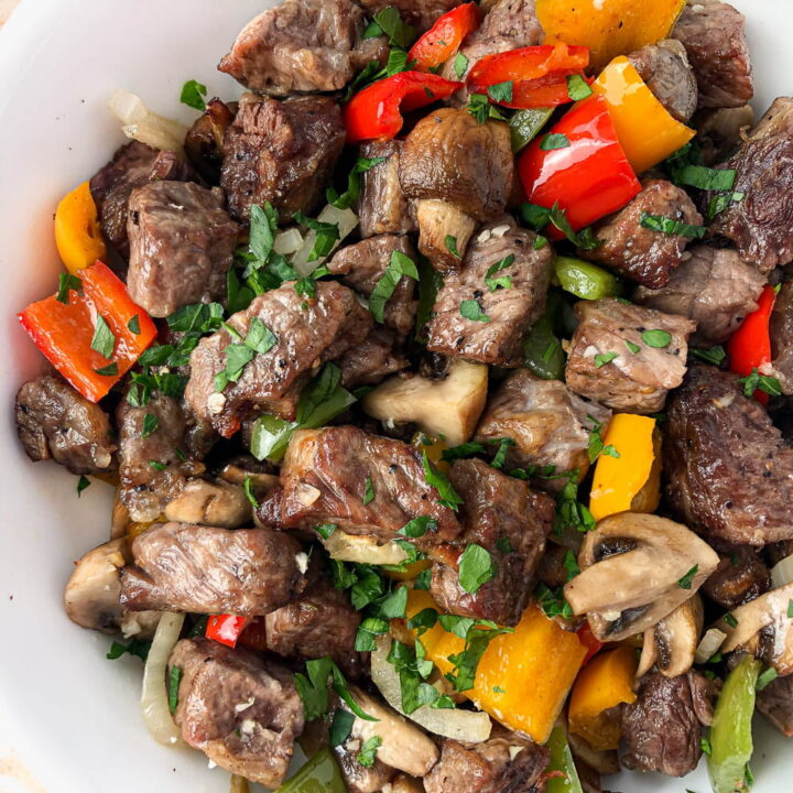 Air Fryer Steak Bites with Peppers and Onions (skillet version too)