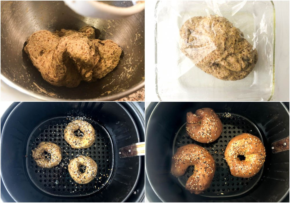 collage of photos of how to make yeast bagels in the air fryer