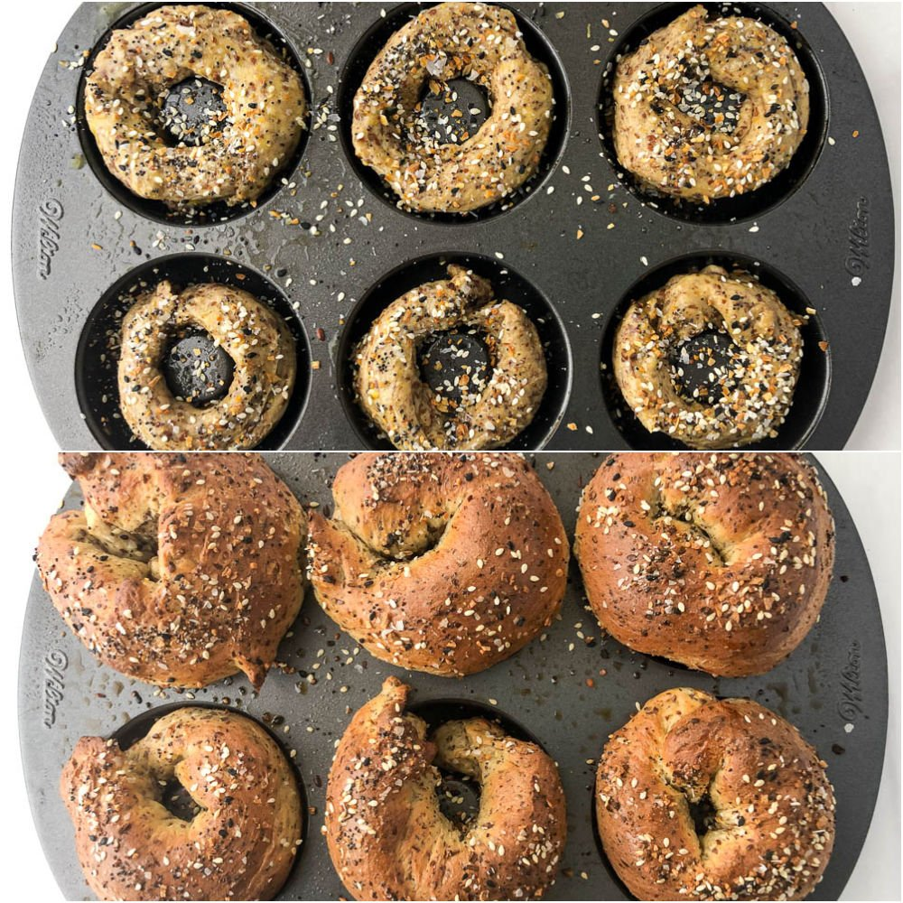 donut baking tray with everything bagels before and after baking