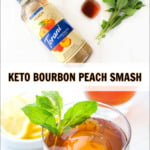 glass with whiskey peach smash and ingredients to make it and text overlay