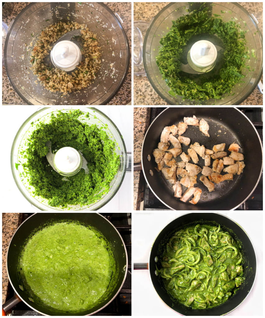 collage of how to make pesto with fresh spinach and walnuts instead of basil and pine nuts