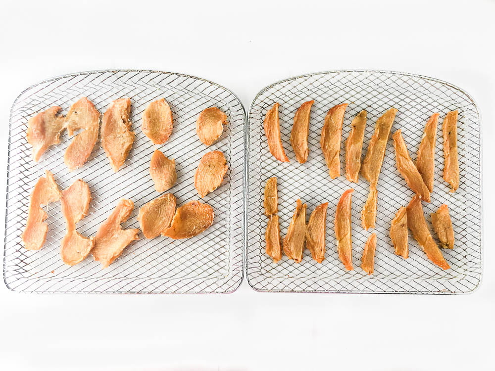 air fryer trays with baked chicken jerky pieces
