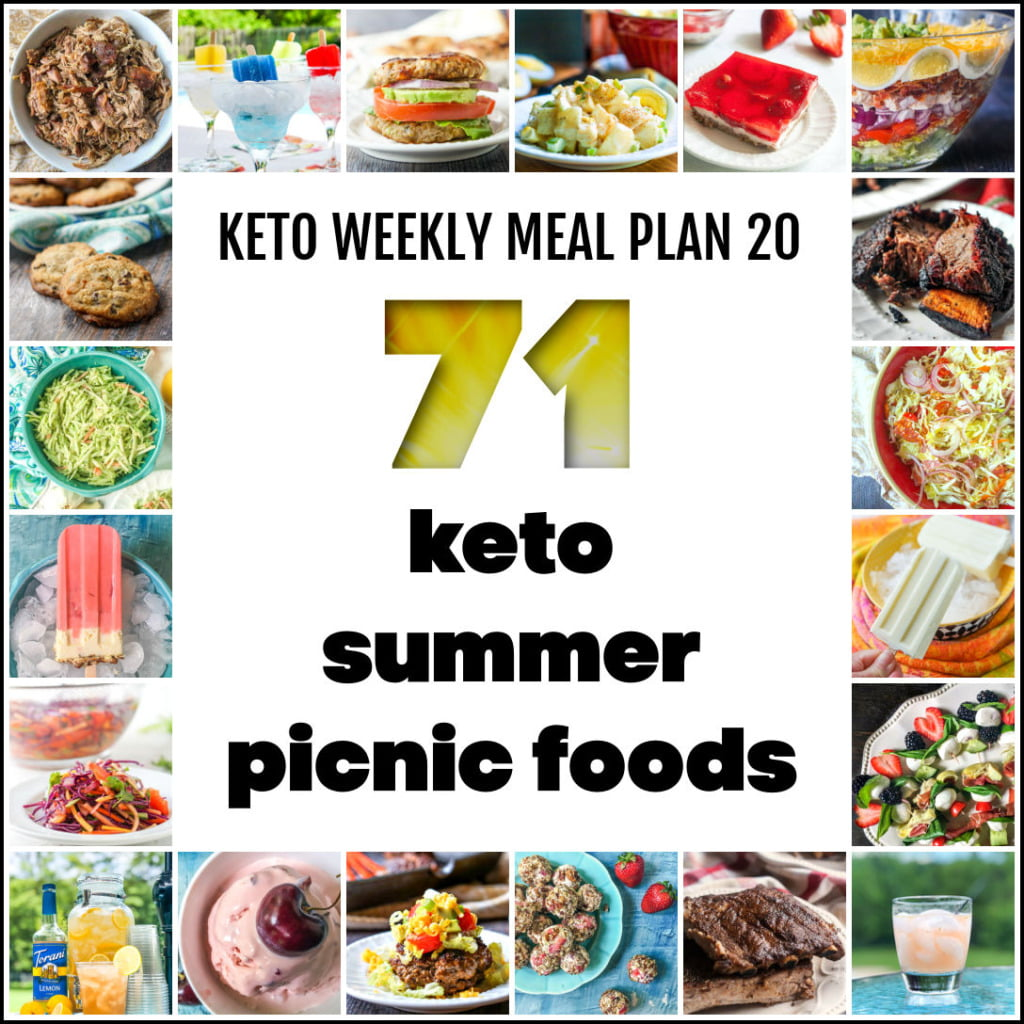 collage of keto picnic foods with text
