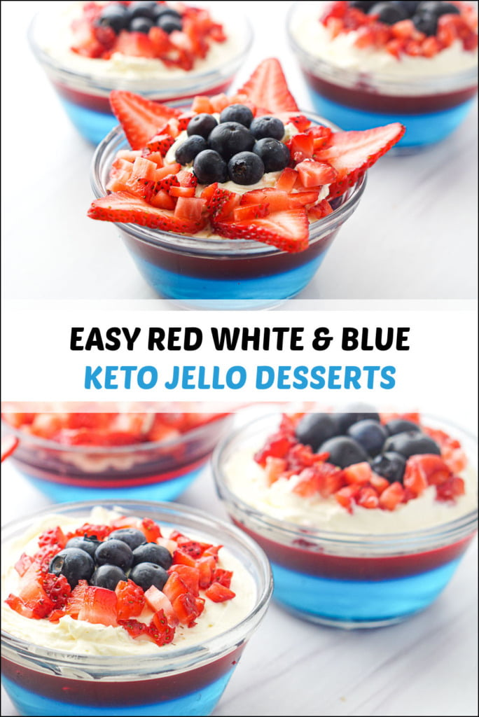 keto jello desserts with strawberries and blueberries and text