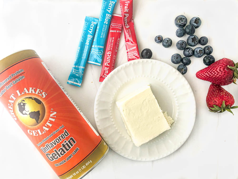 dessert ingredients: Great Lakes gelatin, cream cheese, sugar free drink mixes, strawberries and blueberries