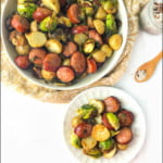 white bowl and plate with kielbasa and poatoe air fryer dish and text