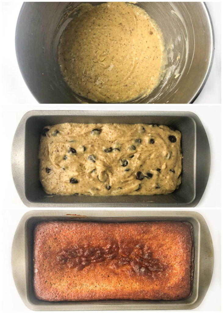 collage of pictures showing how to make protein powder banana bread
