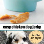 bowl of dog jerky and cute dog eating it with text
