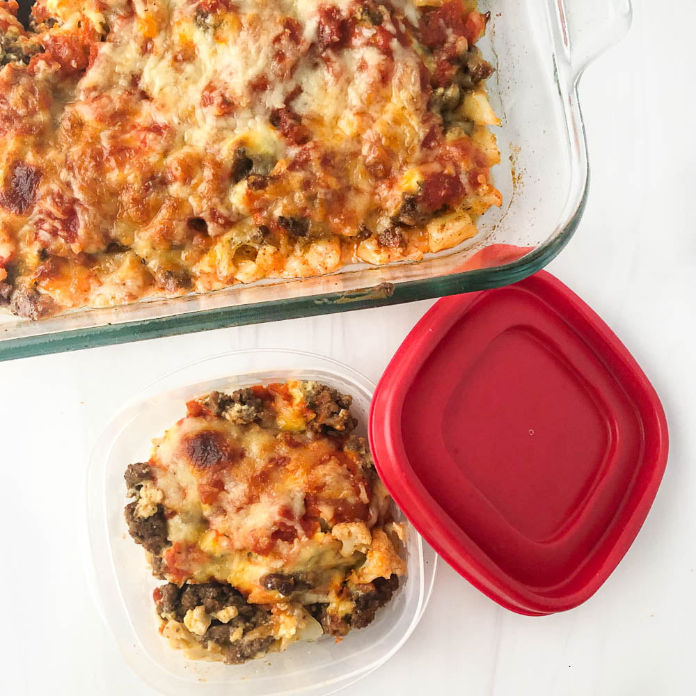 baking dish and food container with a serving for freezing