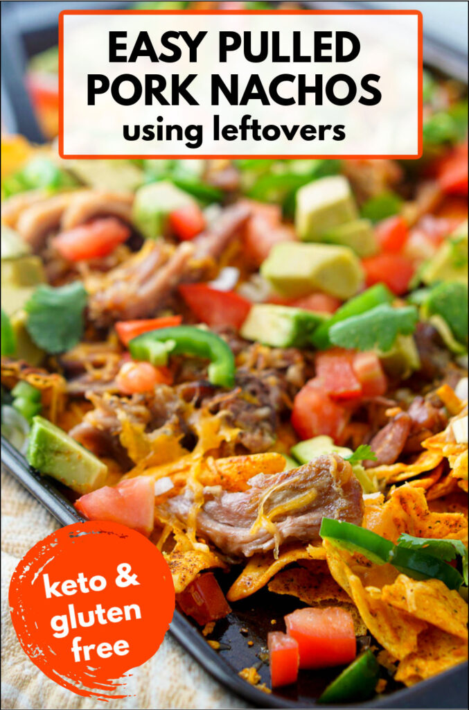 baking tray with keto pulled pork nachos and text