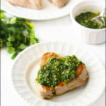white plates with tuna steaks, cilantro and chimichurri sauce and text