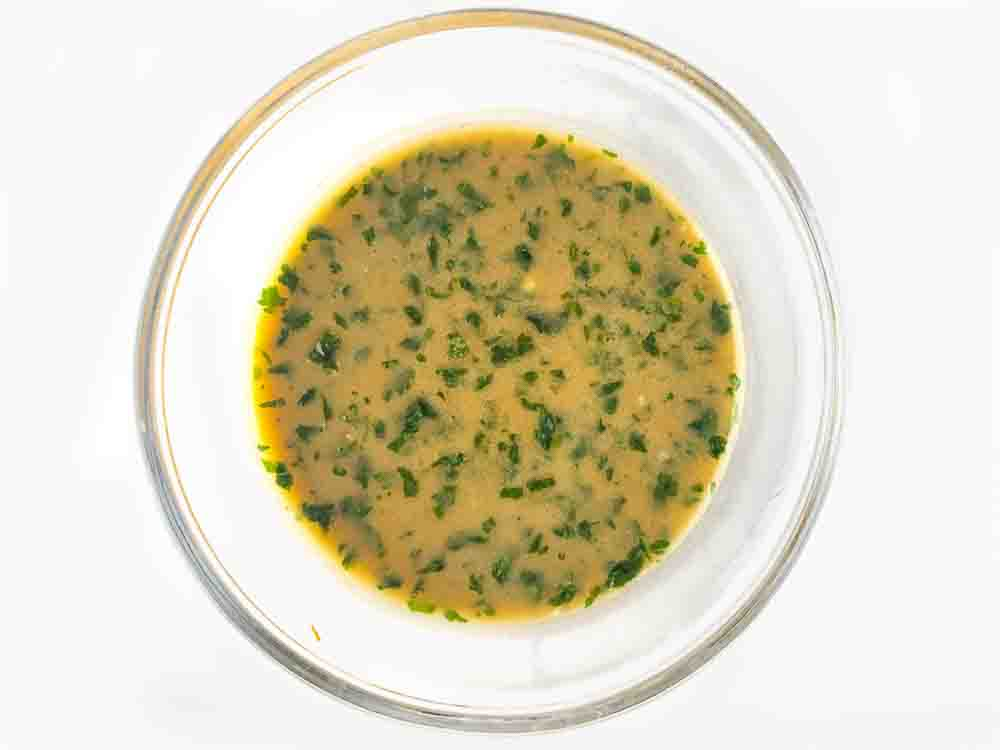 glass bowl with sesame ginger dressing