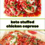 baking dish with stuffed chicken and tomatoes with text