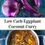 pan with eggplant Thai curry and text