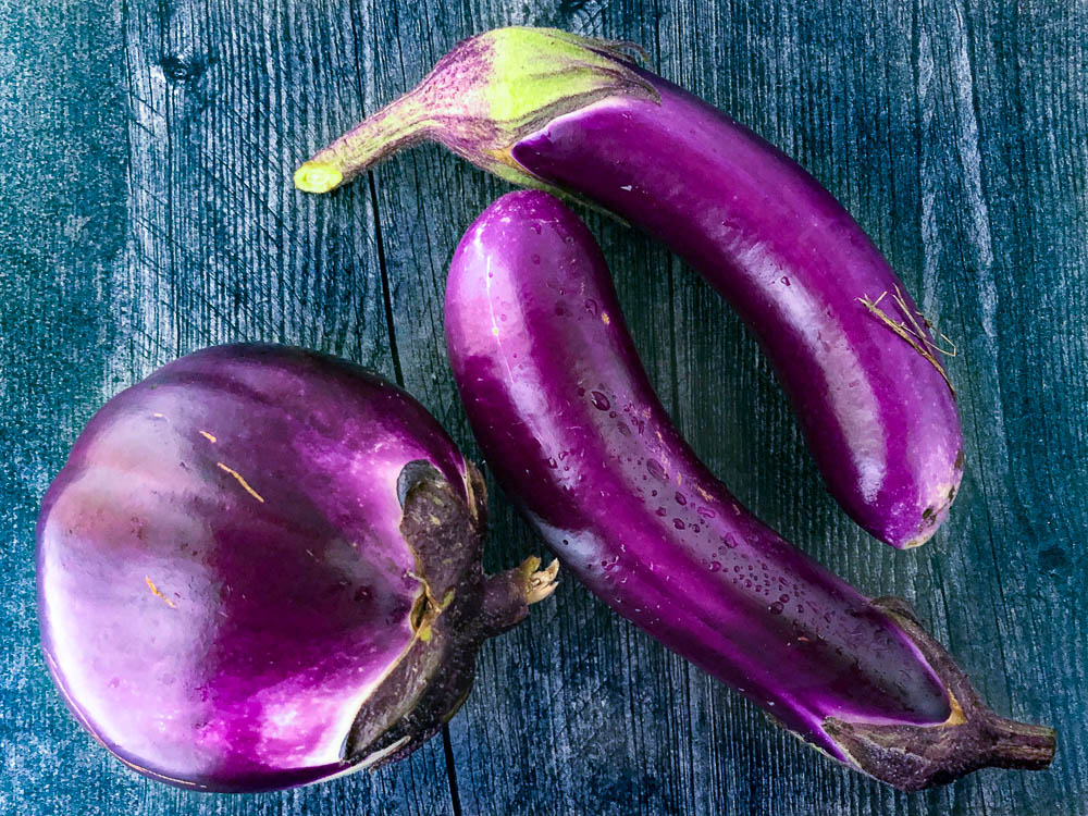 bright purple egg plants