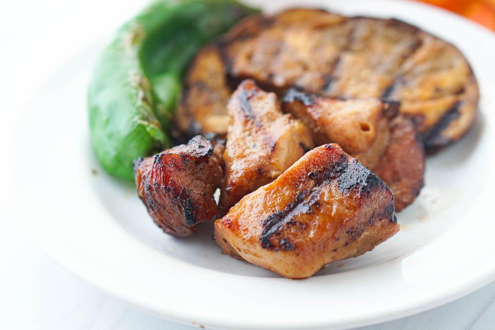 closeup of a piece of keto marinated pork kebabs