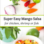 fresh ingredients and white bowl with mango salsa and text