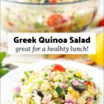 bowl of zucchini quinoa salad and text