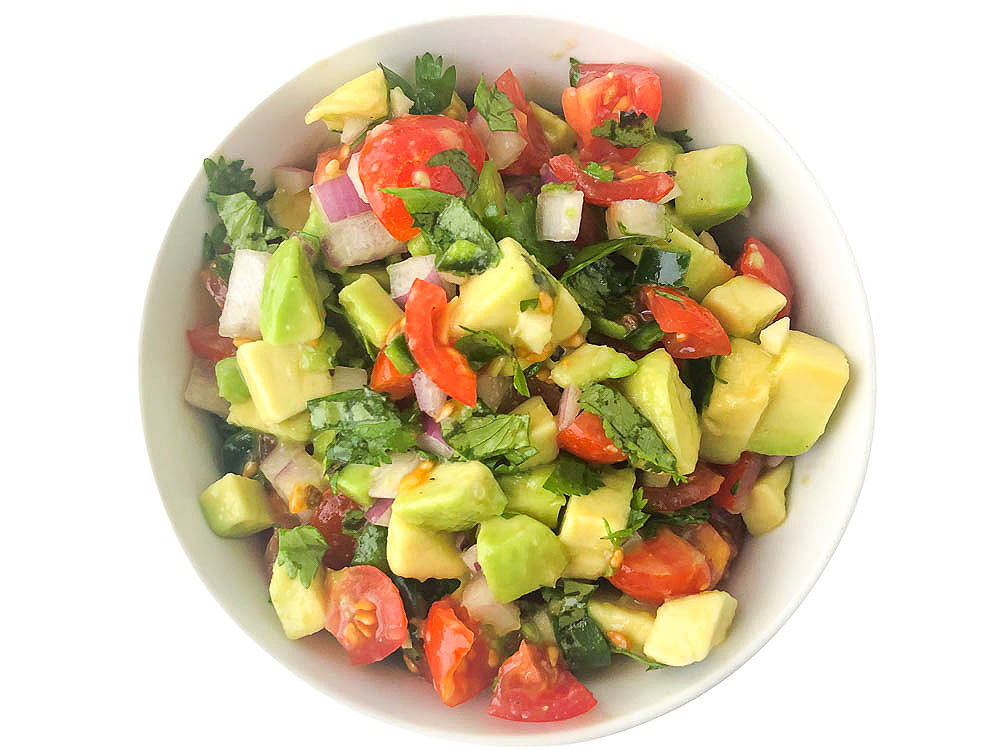 bowl of avocado and tomato fresh salsa