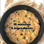 pan of shrimp scampi with text
