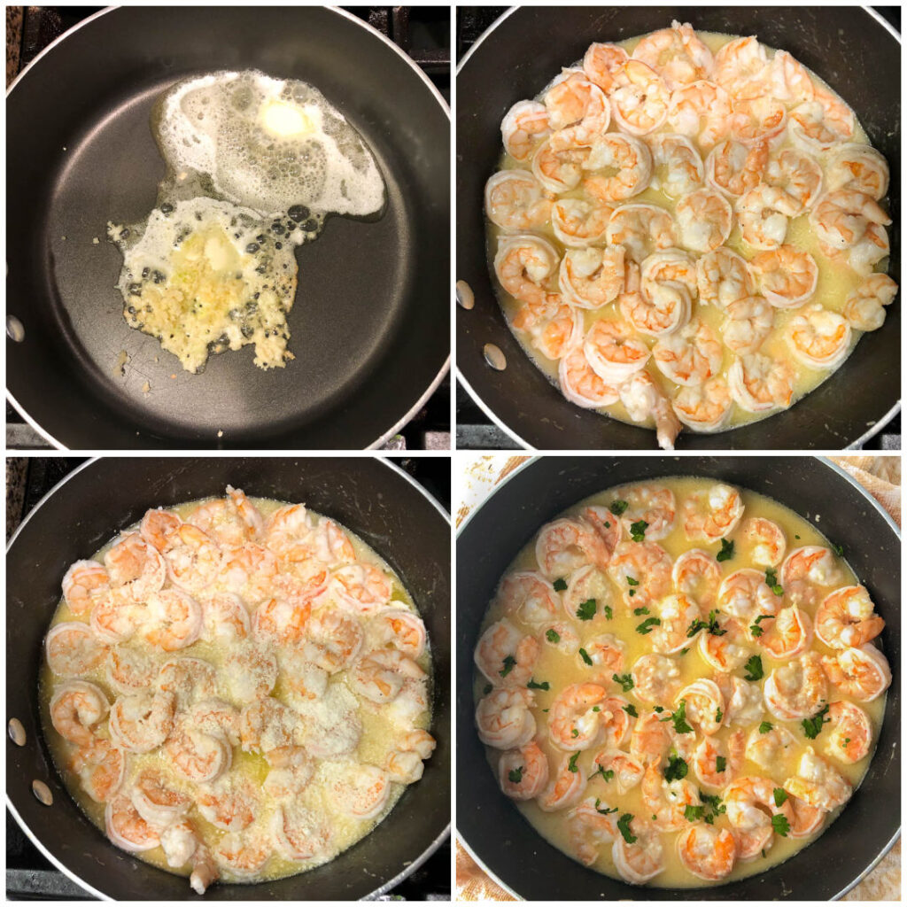 collage of pictures showing how to make shrimp scampi
