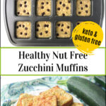 muffin tin and white plate with keto zucchini protein powder muffins with text