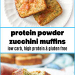 white plate with keto zucchini protein powder muffins with text