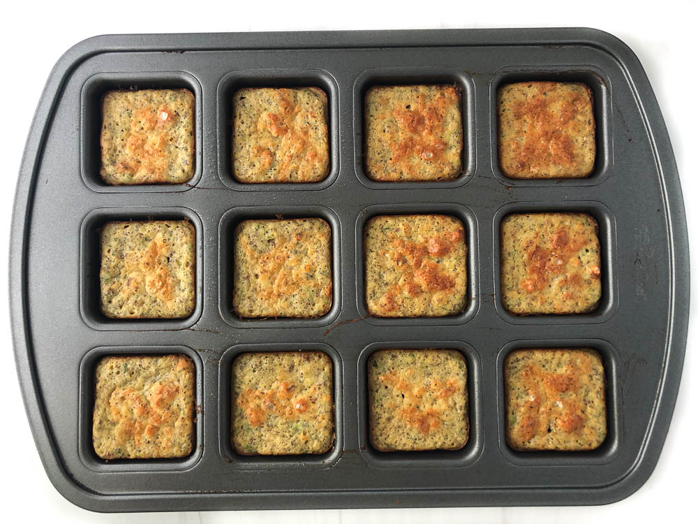 finished healthy zucchini muffins in the tin